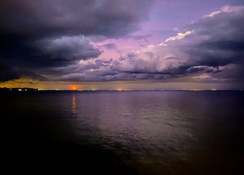 Moonrise under a Pink Sky Reflected in Tampa Bay, Florida