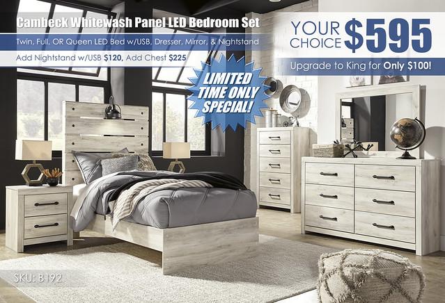 Cambeck Whitewash Panel Bedroom Set Twin Full Queen_B192-31-36-46-53-52-83-92