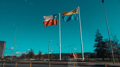 Banderas de Chile y Concepción, VIII Región del Biobío, Chile.