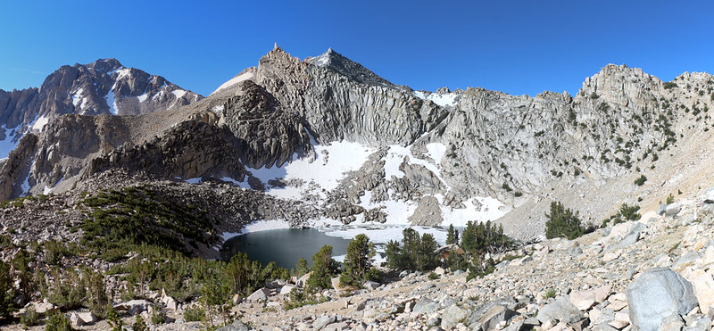 University Peak on the far left, with Big Pothole Lake down below us on the Kearsarge Pass Trail