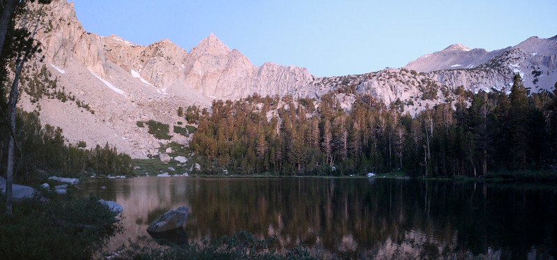 Dawn Alpenglow panorama over Flower Lake