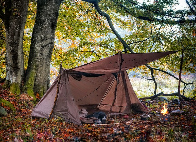 Coyote Brown OneTigris Tent for 1-2 Person Backwoods Bungalow 2.0 Camping Tent Lightweight Pop Up Tent Waterproof 4 Season Bushcraft Shelter Tent for Hiking Outdoor Reusable Packaging