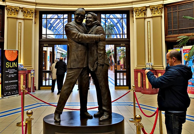 Morecambe and Wise statue in the Winter Gardens, Blackpool