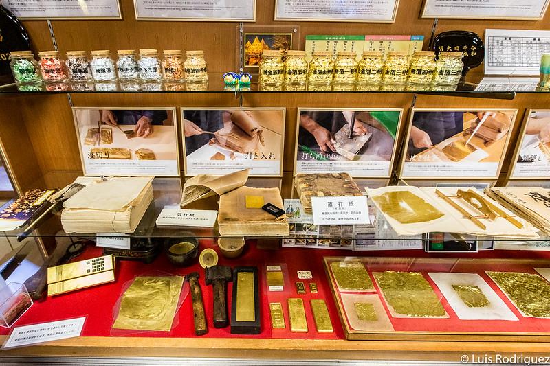 Pasos de la producción del pan de oro de Kanazawa