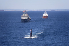 The Republic Of Korea Navy submarine ROKS Lee Sunsin (SSK 068) sails in company with the Japan Maritime Self-Defense Force submarine rescue ship JS Chiyoda (AS 405) and Royal Australian Navy rescue gear ship MV Stoker for the opening of the sea phase of exercise Pacific Reach 2019, Nov. 8. (Royal Australian Navy/POIS James Whittle)