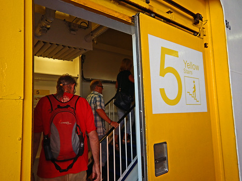Entering the yellow Level 5 on the ferry from Sweden to Denmark