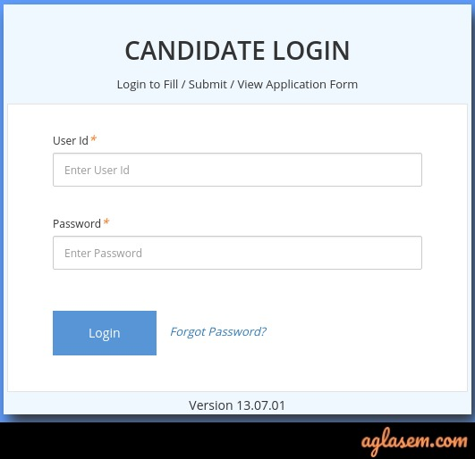 JIPMER PG 2020 login window