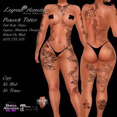 """Lupus Femina"" Peacock Tattoo W/ Appl. & B.O.M"