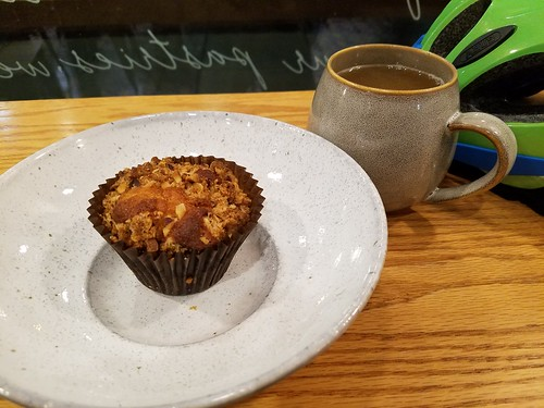 Pluma's Hot Apple Cider and Pear-Ginger-Hazelnut Muffin