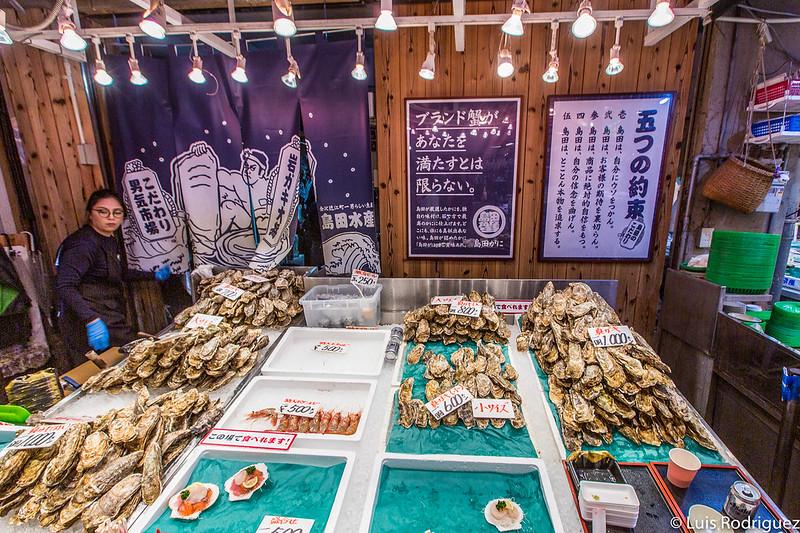 Ostras y camarones en Shimada