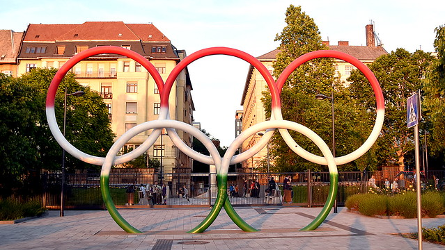 The Olympic Rings painted in the Hungarian flag colours, Budapest.
