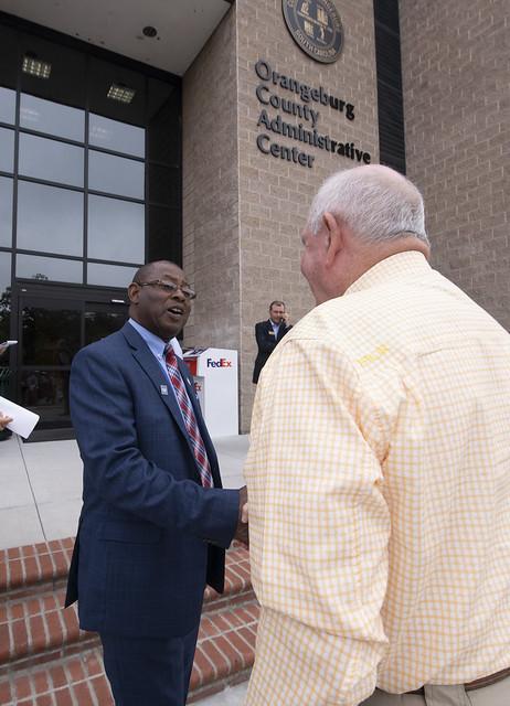 Orangeburg County Council Chair Johnnie Wright, Sr. and Secretary Perdue
