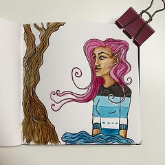 A little sketch, made just because I enjoy drawing. No particular idea or plan and just see where I end up. Well, I ended up with an elf lady and a tree and something of water/cloud. #drawing #sketchbook #sketching #fountainpen #watercolor #followinspirat