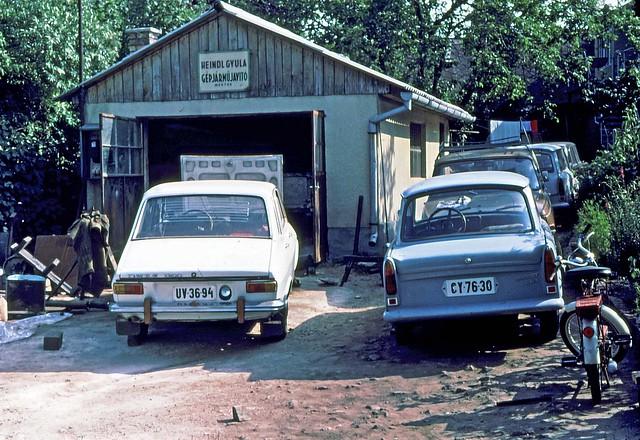 Dacia 1300 and  Trabant at a home garage  Balantanmadi   Hungary July 4 1978