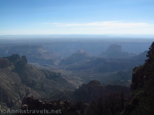 Hazy canyon views from Atoko Point, Grand Canyon National Park, Arizona