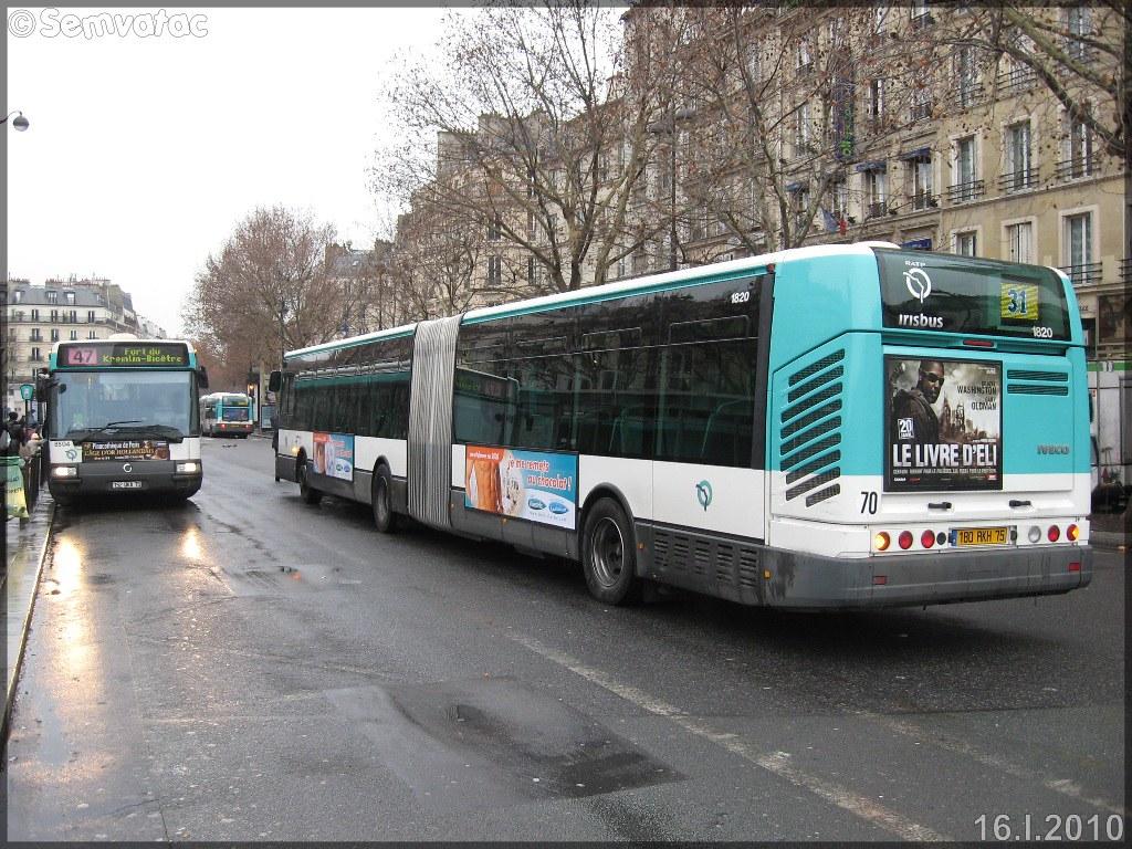 Irisbus Citélis 18 – RATP (Régie Autonome des Transports Parisiens) / STIF (Syndicat des Transports d'Île-de-France) n°1820 & Irisbus Agora Line – RATP (Régie Autonome des Transports Parisiens) / STIF (Syndicat des Transports d'Île-de-France) n°8504