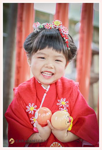 七五三 3歳の女の子 日本髪 つまみ細工