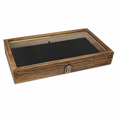 Wood Jewelry/Bead Storage Box in Tempered Glass Top Lid with Velvet Black Pad Display Box Case Medals Awards Jewelry Knife