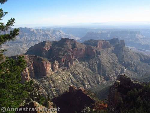 Swilling Butte (left) and Hutton Butte (pointy to the right) from Atoko Point, Grand Canyon National Park, Arizona