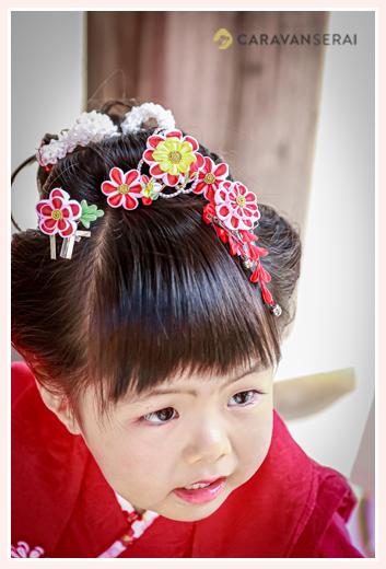 七五三 3歳の女の子 日本髪 髪飾り かんざし