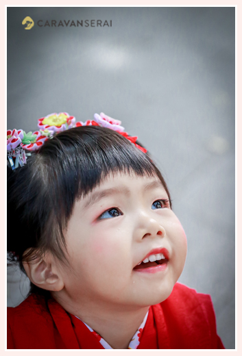 七五三 3歳の女の子 メイクアップ・化粧 ヘアスタイル 日本髪を結う かんざし