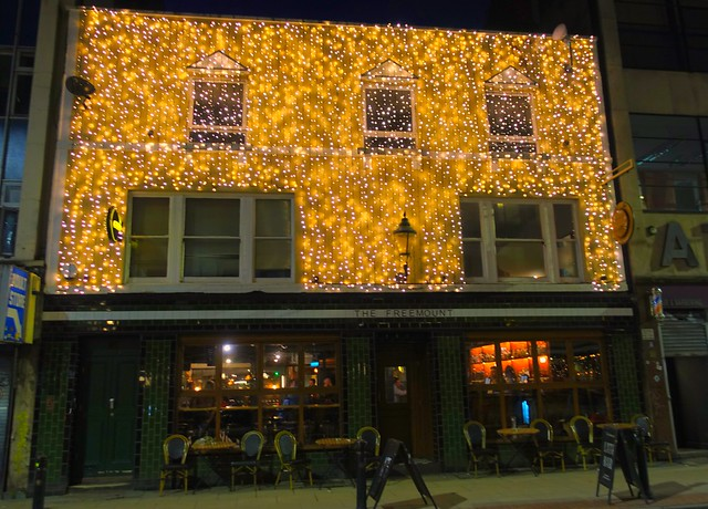 Glowing pub in Manchester