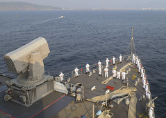 Sailors aboard USS Germantown (LSD 42) as the ship arrives in Visakhapatnam. (U.S. Navy/MC1 Toni Burton)