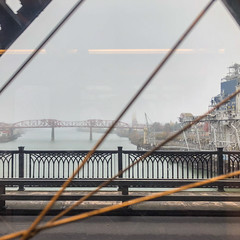 A foggy morning in Portland, as seen on an inbound MAX crossing the Steel Bridge.