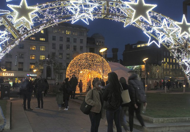 Festive arch at Piccadilly Gardens in Manchester