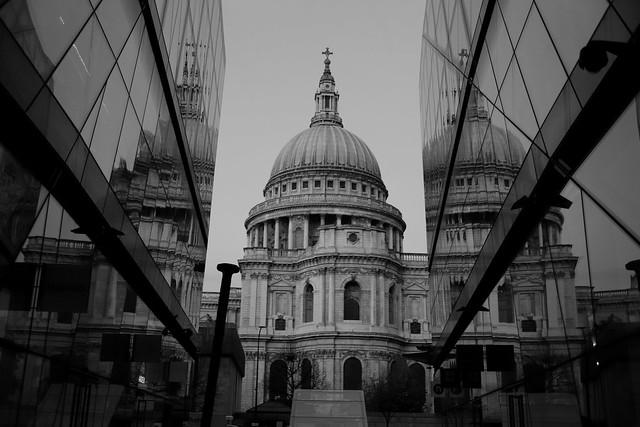 St Pauls Reflection Black White