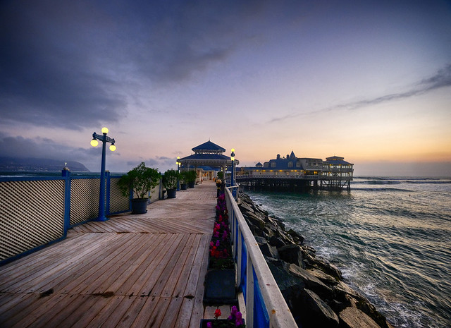 Pier at sunset in Lima, Peru
