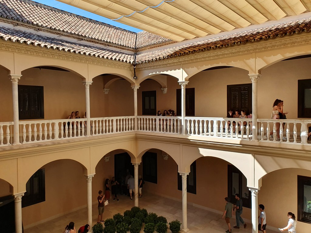 The patio of Picasso Museum, with sandy colored columns