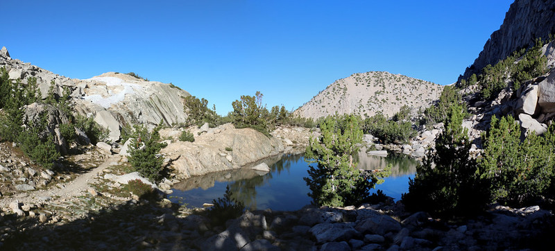 View south on the Pacific Crest Trail looking over a small tarn near our campsite below Glen Pass
