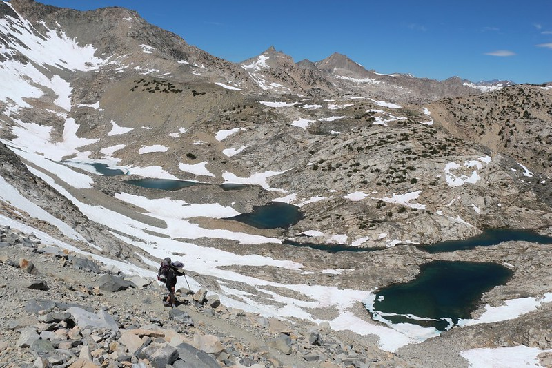 Looking west at the unnamed lakes in the basin below Glen Pass as we continue on the PCT