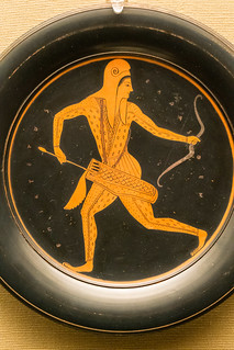 Red-figured plate with an archer