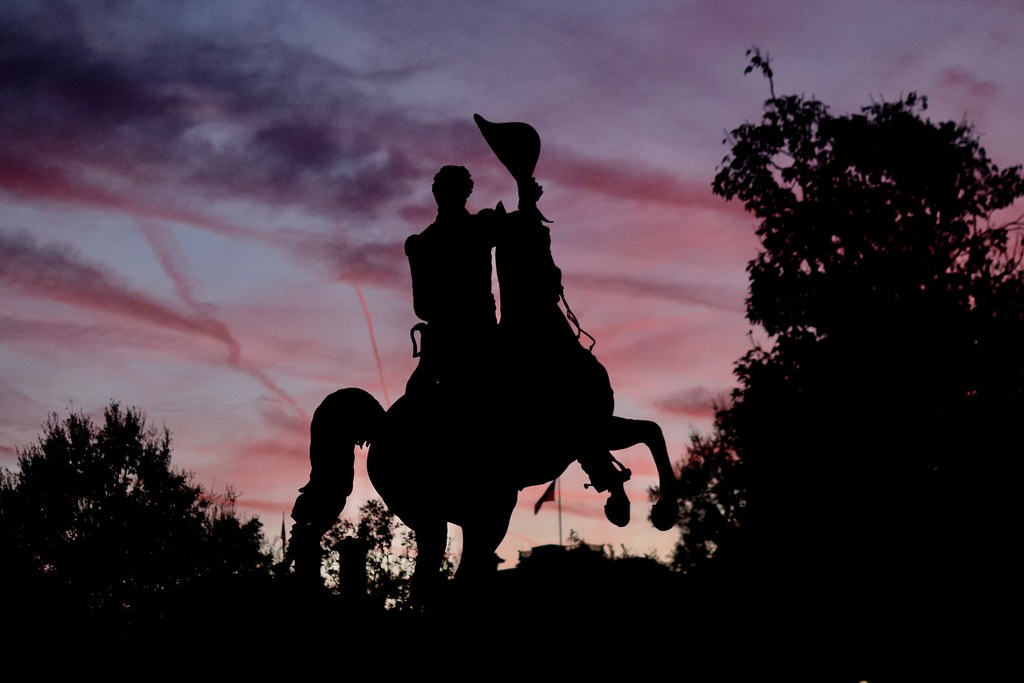 Andrew Jackson statue at sunset