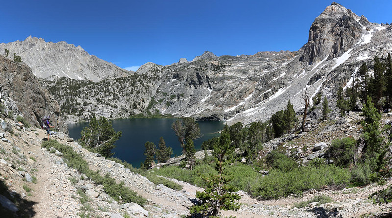 We arrive at Upper Rae Lake on the PCT, with Black Mountain (left) and Painted Lady