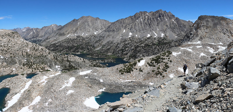 Panorama shot looking north toward the Rae Lakes Basin from the PCT below Glen Pass