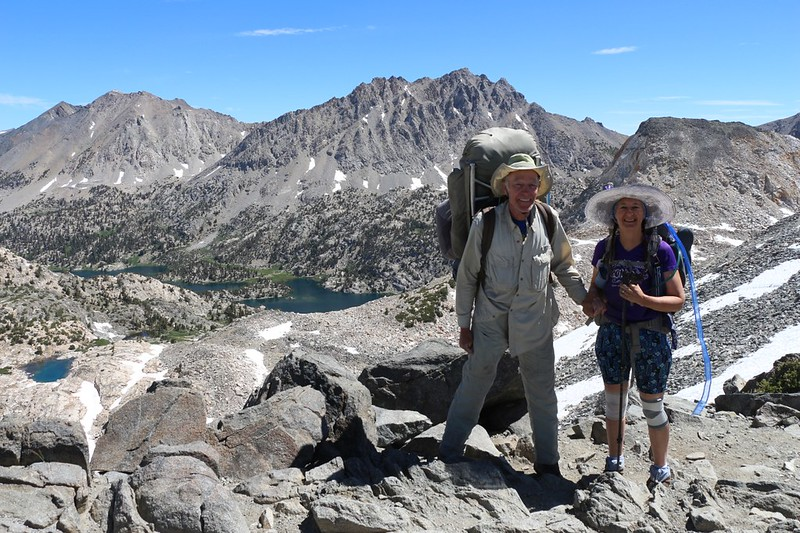Vicki and I on top of Glen Pass, 11926 feet elevation, with the Rae Lakes basin in the background