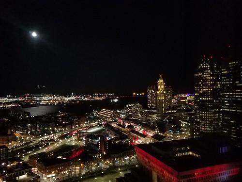 11-13-2019: Moonlit harbor. Boston, MA