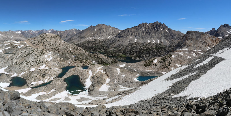 Panorama view north toward Rae Lakes from Glen Pass on the Pacific Crest Trail
