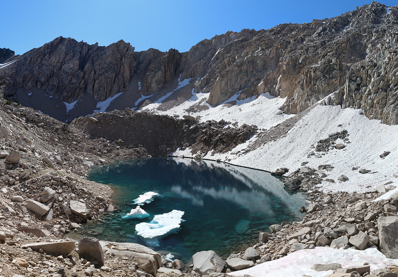 View of the lower lake south of Glen Pass