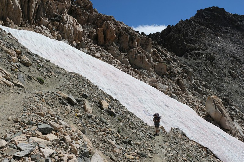 There was still lots of snow on this south-facing slope but the PCT was only partly blocked, so we scrambled a bit