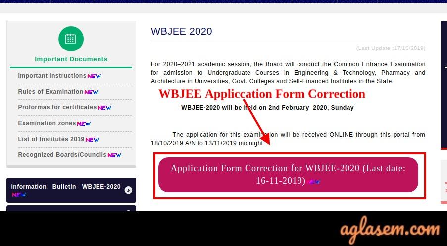 WBJEE application form correction