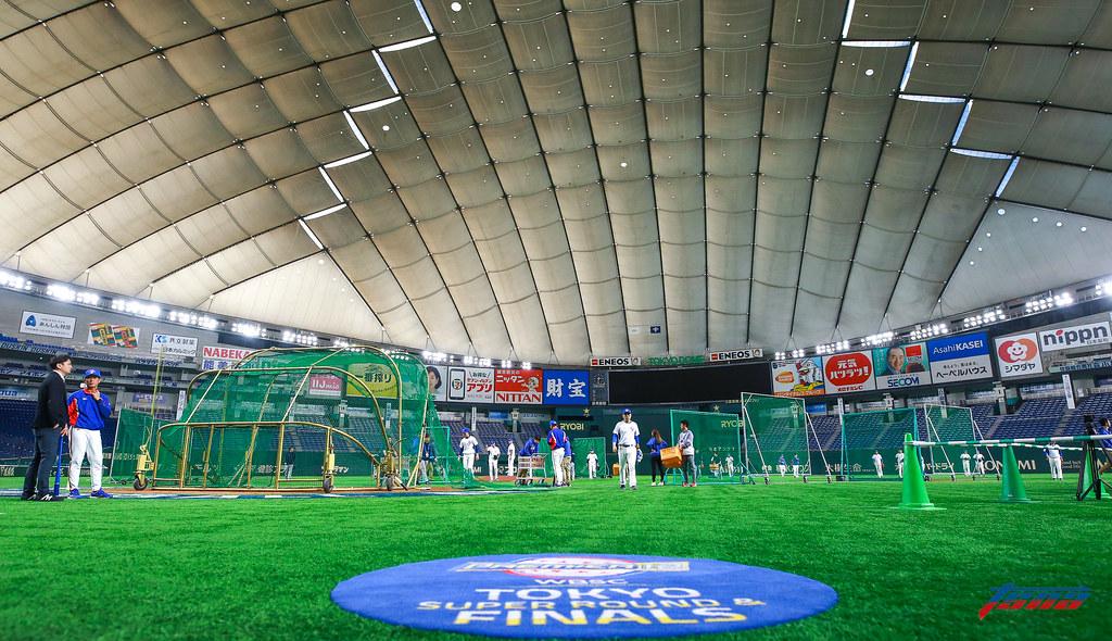 中華隊在東京巨蛋練習。(特約攝影侯禕縉/現場拍攝)
