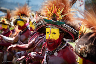 Huli Wigman Tribe painted red ochre, Papua New Guinea, Sep 2019