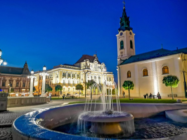An evening shot in the city center of Oradea. Romania.