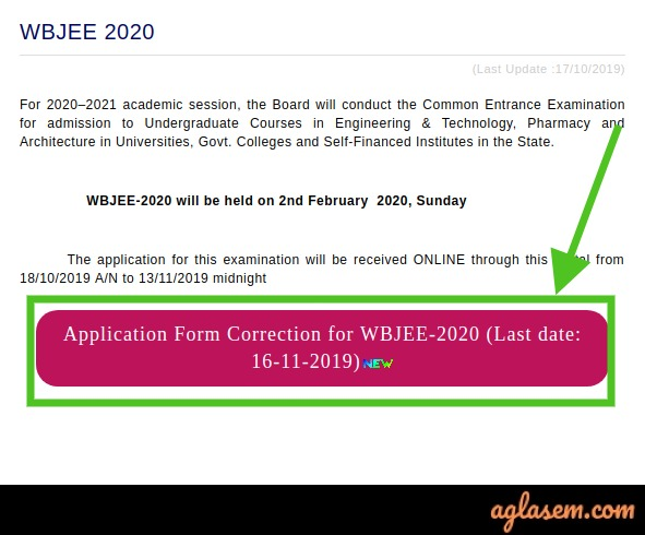 WBJEE 2020 Application Form Correction