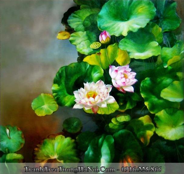 Tranh hoa Sen giả sơn dầu treo tường hiện đại Amia 912