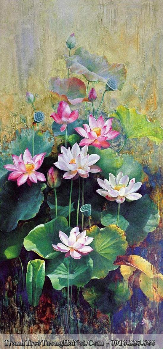 Tranh đẹp hoa Sen in giả sơn dầu treo tường AmiA 560
